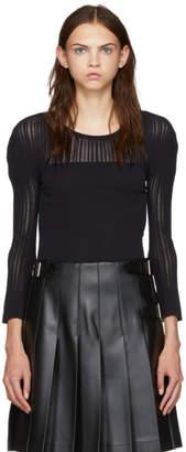 Issey Miyake Black Stripe Mesh Crewneck Sweater