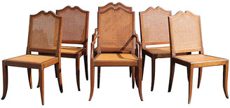 One Kings Lane Vintage Midcentury Carved Dining Chairs - Set of 6 - Something Vintage