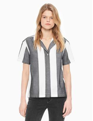 Calvin Klein striped button-down cropped shirt