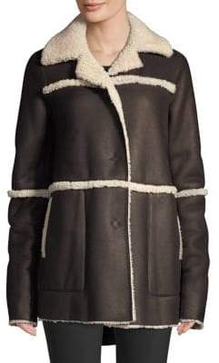 Lafayette 148 New York Rosalind Shearling-Trim Coat