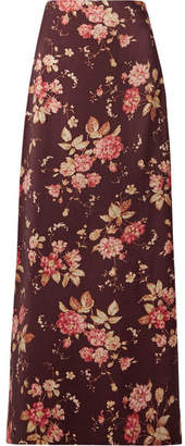 Zimmermann Floral-print Wool-blend Twill Maxi Skirt - Burgundy