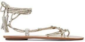 Loeffler Randall Bo Crystal-Embellished Braided Metallic Suede Sandals