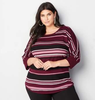 Avenue Multi-Stripe Dolman Pullover Sweater