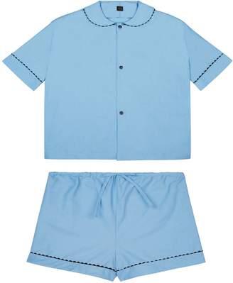 RAC Sarah Brown 100% Cotton Poplin Pyjamas In Pastel Blue With Black Contrasting Ric Trim