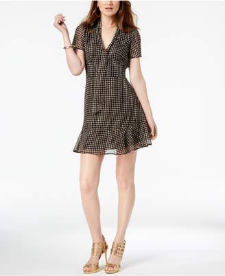 Michael Kors Houndstooth-Print Scarf-Neck Dress