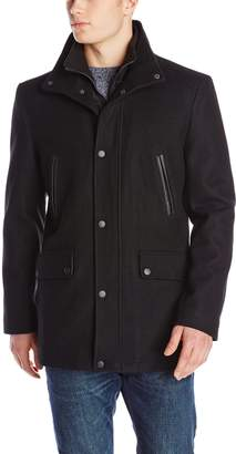 Kenneth Cole New York Men's Wool Coat with Leather Piped Pockets
