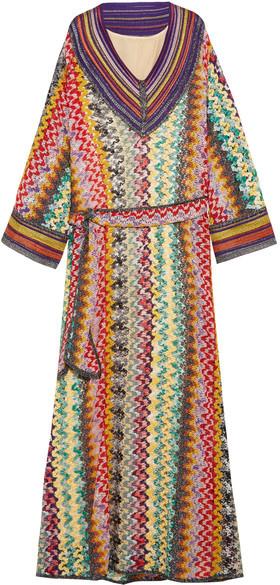 Missoni - Belted Metallic Crochet-knit Maxi Dress - Green
