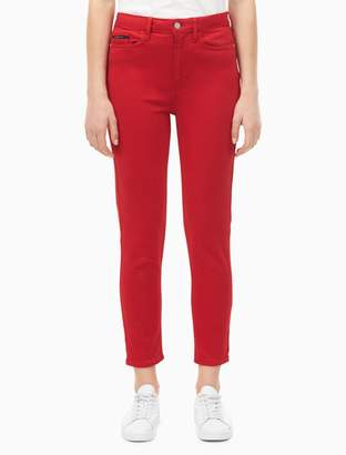 Calvin Klein skinny high rise tango red ankle jeans