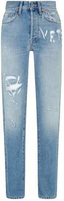 Vetements Distressed High-Waist Jeans