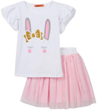 Funkyberry Bunny Tee & Tutu 2-Piece Set (Toddler & Little Girls)