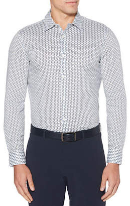 Perry Ellis Slim Fit Dot Print Stretch Long Sleeve Button Down Shirt