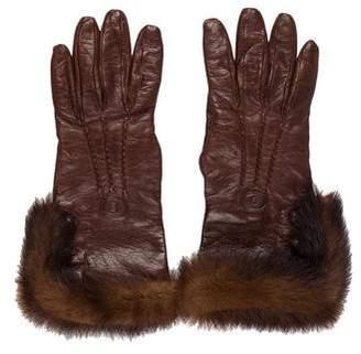 Fendi Fur-Trimmed Leather Gloves