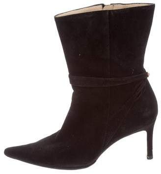 Judith Leiber Suede Pointed-Toe Booties