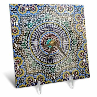 fes 3dRose Mosaic wall for fountain, Fes, Morocco, Africa - AF29 KWI0083 - Kymri Wilt, Desk Clock, 6 by 6-inch