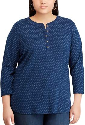 Chaps Plus Size Henley Pocket Top