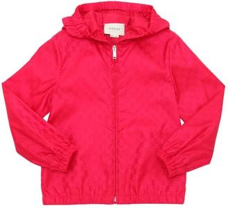 Gucci Gg Print Hooded Nylon Windbreaker Jacket