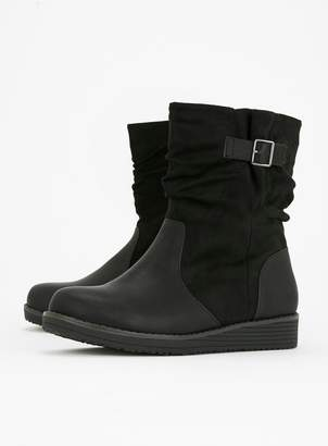 db6bec39a95 Evans EXTRA WIDE FIT Black Rouched Ankle Boots