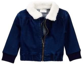 Rosie Pope Faux Fur Trimmed Denim Jacket (Baby Girls)