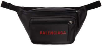 Balenciaga Black Leather Logo Belt Bag
