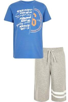River Island Boys blue spliced print pajama set