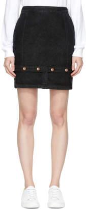 Sjyp Black Panelled Denim Miniskirt