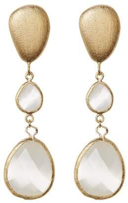 Rivka Friedman 18K Gold Clad Faceted White Cat's Eye Teardrop Satin FInish Drop Earrings