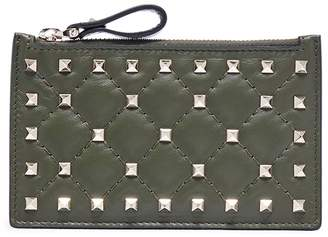 Valentino 'Rockstud Spike' quilted leather zip card holder