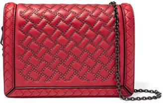 Bottega Veneta Montebello Mini Studded Intrecciato Leather Shoulder Bag - Red