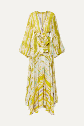 Silvia Tcherassi Annmarie Belted Tie-dyed Crepe Maxi Dress - Yellow