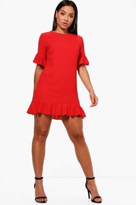 boohoo Ruffle Hem Shift Dress