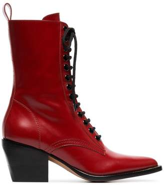 Chloé red rylee medium 60 leather boots