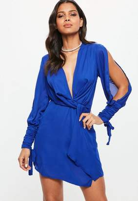 d6f9d86372bce Free Shipping at Missguided · Missguided Blue Slit Sleeve Knot Front Wrap  Dress