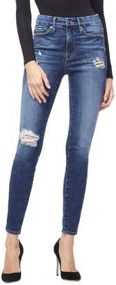 Good American Good Legs Leopard Pocket Jeans - Blue203