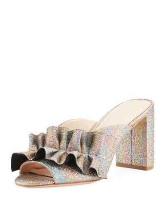Loeffler Randall Esme Rainbow Ruffle Chunky Heel Slide Sandal