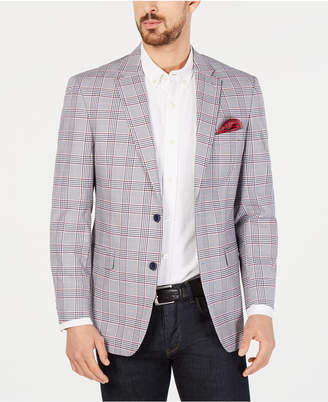 Tommy Hilfiger Men Modern-Fit THFlex Stretch Red/White Plaid Sport Coat
