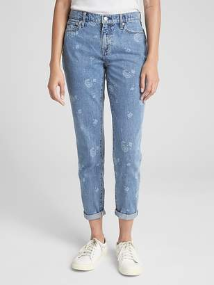 Gap Mid Rise Best Girlfriend Jeans with Floral Detailing