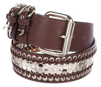 Versace Embellished Leather Belt