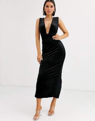 Asos Design DESIGN velvet deep plunge maxi dress
