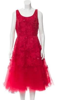 Oscar de la Renta Floral Sleeveless Midi Dress Red Floral Sleeveless Midi Dress