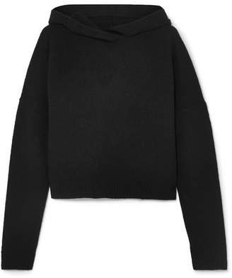 Theory Cropped Cashmere Hooded Top - Black