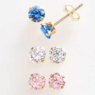 Swarovski Renaissance Collection 10k Gold 1 1/2-ct. T.W. Stud Earring Set - Made with Zirconia