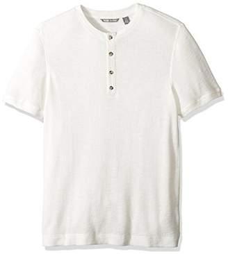 Michael Bastian Men's Short Sleeve Cotton Waffle Henley