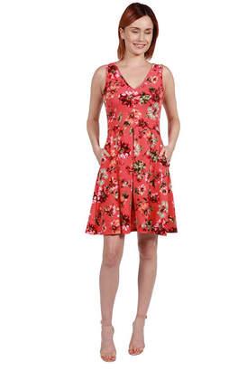 24/7 Comfort Apparel 24Seven Comfort Apparel Margaret Pink Floral Fit and Flare Mini Dress - Plus