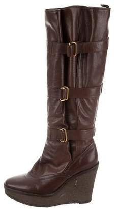 Saint Laurent Leather Wedge Boots