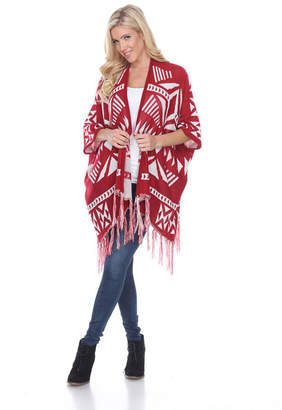WHITE MARK White Mark Cherokee Patterned Cardigan Poncho