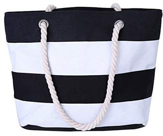 SODIAL(R) Women Beach Canvas Bag Fashion Stripes Printing Handbags Ladies Large Shoulder Bag Totes Casual Bag Shopping Bags£ ̈White and Black)