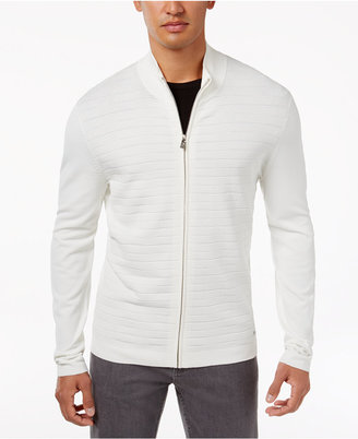 Alfani Men's Quilted-Front Zip Cardigan, Only at Macy's $99 thestylecure.com