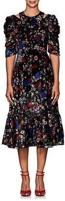 Erdem Women's Anthea Embellished Floral Velvet Dress - Black Multi