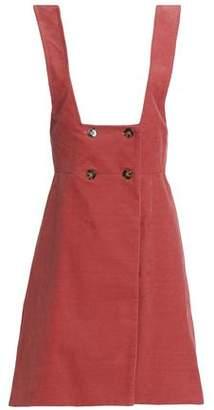 ALEXACHUNG Double-Breasted Cotton-Corduroy Mini Dress