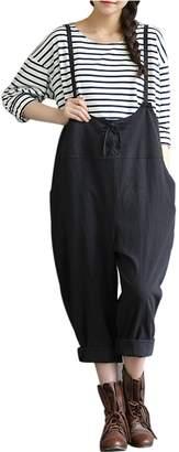 8f29a771c06 Yeokou Women s Linen Wide Leg Jumpsuit Rompers Overalls Harem Pants Plus  Size